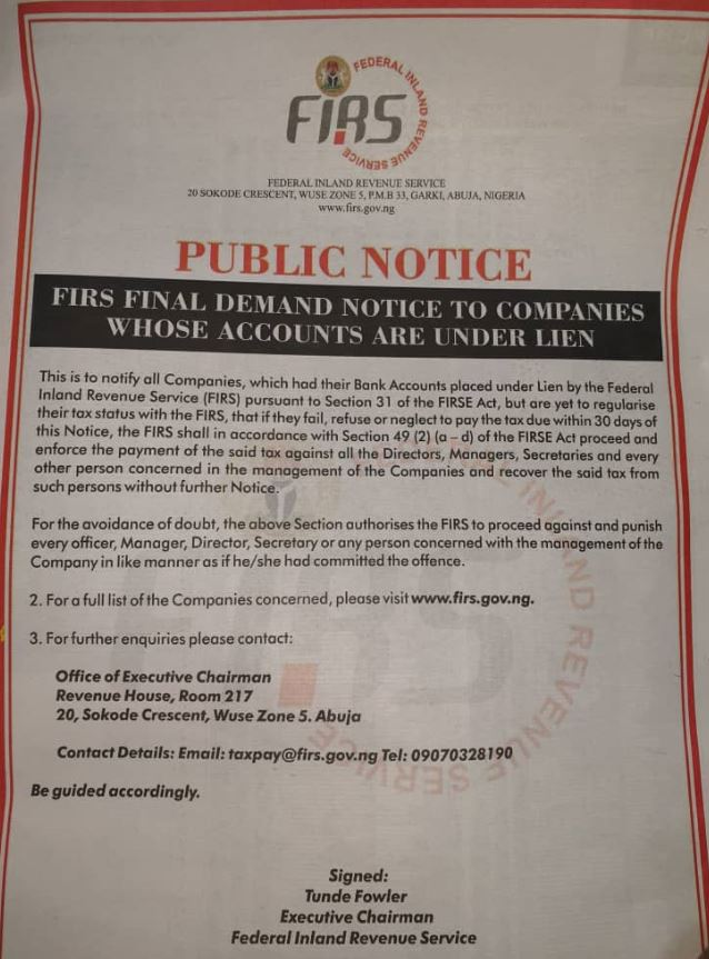 FIRS public notice_lien