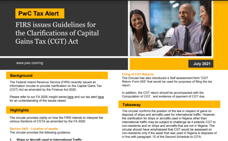 FIRS issues Guidelines for the Clarifications of Capital Gains Tax (CGT) Act