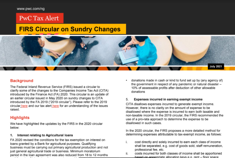 FIRS Circular on Sundry Changes