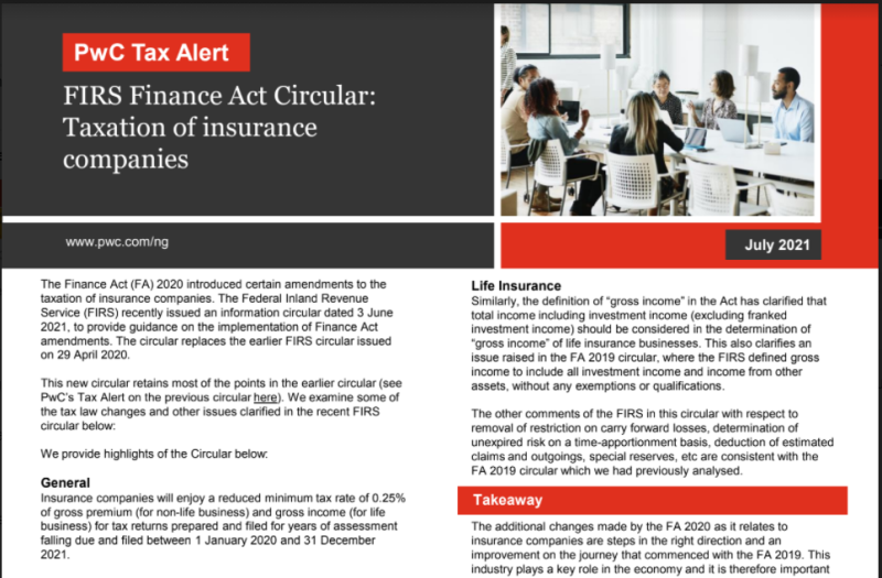 FIRS Circular Taxation of Insurance Companies