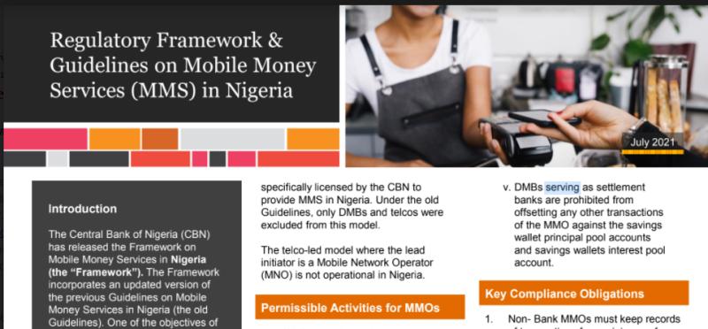 Regulatory Framework of Guidelines of Mobile Money Services in Nigeria