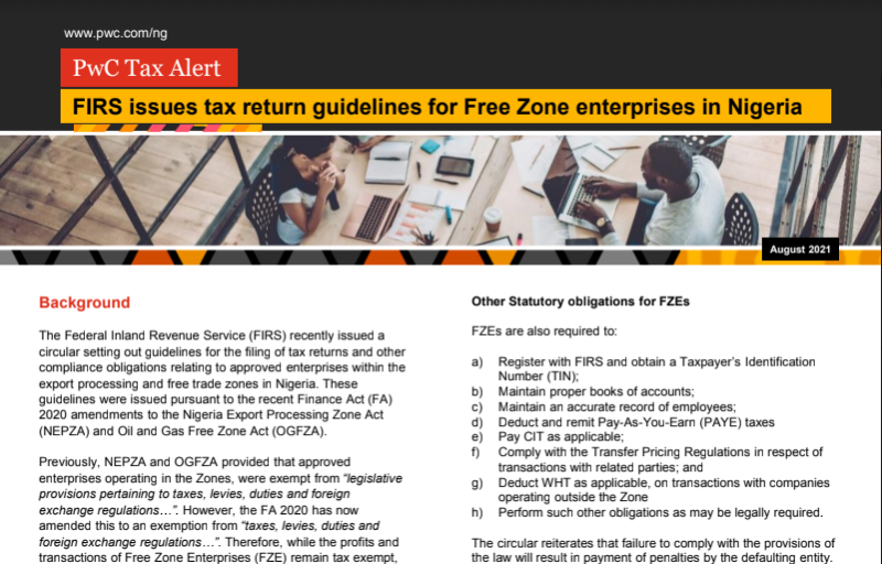 FIRS Issues tax free zone for entreprises in Nigeria