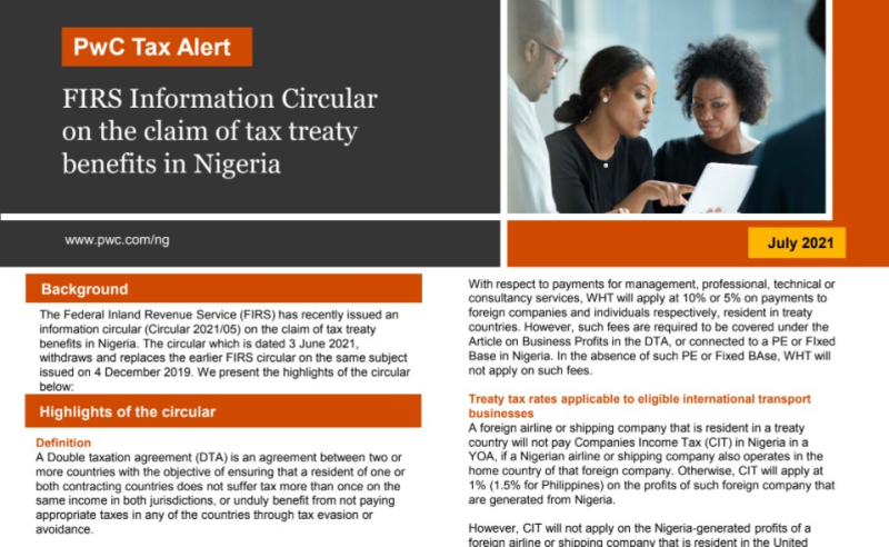 FIRS Information Circular on the claim of tax treaty benefits in Nigeria