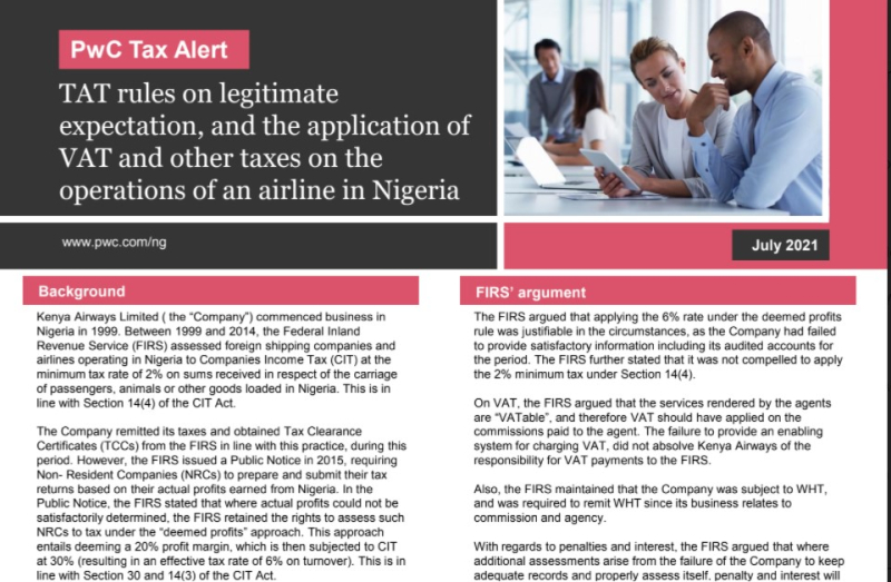 TAT rules on legitimate expectation  and the application of VAT and other taxes on the operations of an airline in Nigeria