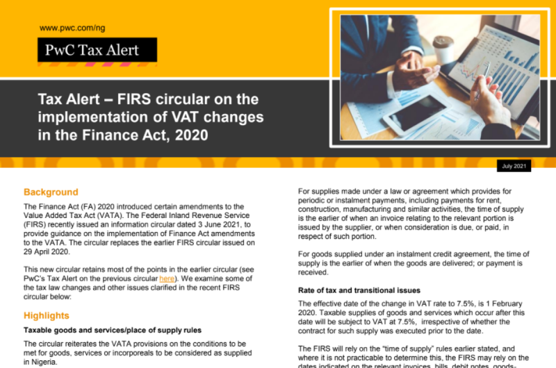 FIRS circular on the implementation of VAT changes in the Finance Act  2020