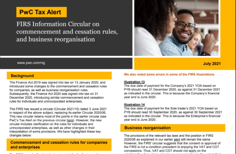 PWC Tax Alert- FIRS Information Circular commencement and cessation rules