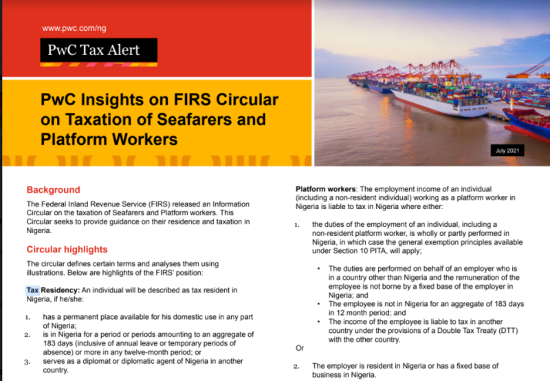 Pwc Insights on FIRS Circular on Taxation of Seafarers and Platform Workers Snapshot
