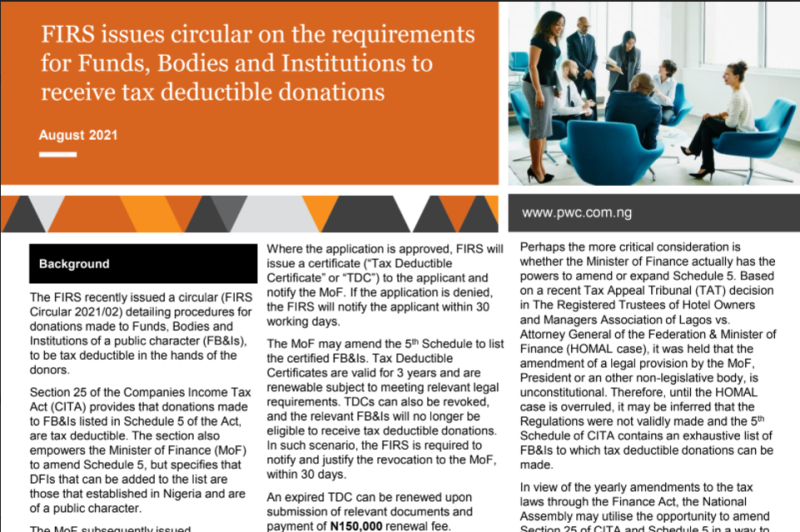 FIRS issues circular on the requirements