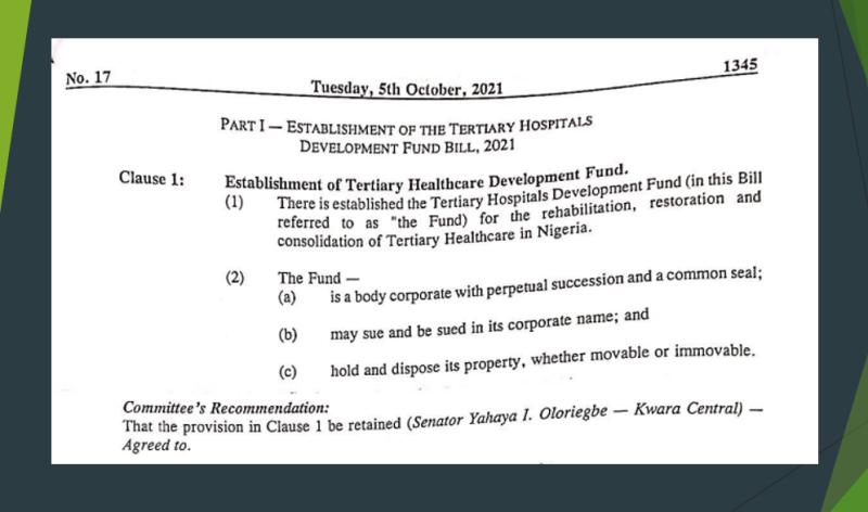 Tertiary Health Development Fund